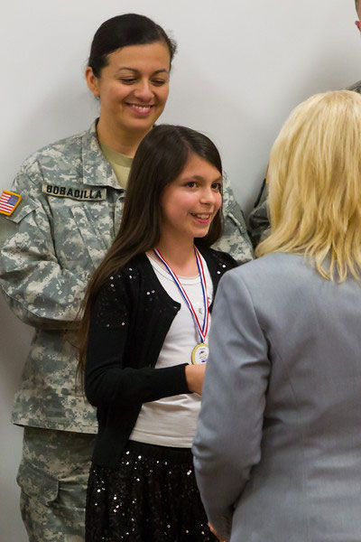 Military Kid receiving recognition